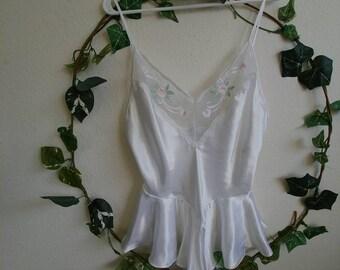 Vintage Silky White Frilly Flower Lingerie