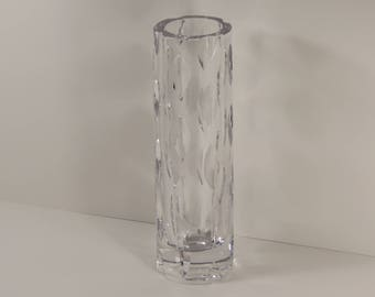 Signed Vintage Kosta Boda Heavy Crystal Art Glass Vase with Vertical Cuts from Sweden