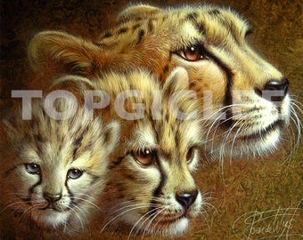 Leeuwin met Welpen - Meester Repro Print van Acrylicverf - Master Art Print created from Acrylic Painting Artwork, Lioness with Cubs