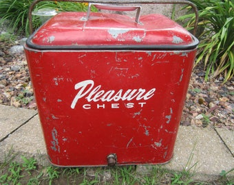 vintage cooler, Pleasure Chest, metal cooler, red metal cooler, ice box, vintage picnic, beer cooler, 1950s ice chest
