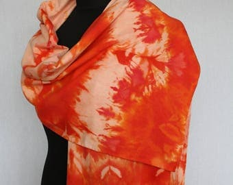 Scarf by bourettezijde, 180 x 45 cm, painted with the ijsverftechniek in different shades of Orange (L-0223)