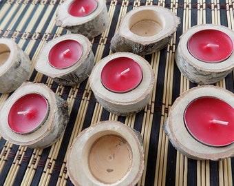 10 Birch candle holder, wood candle holder, Rustic wedding decor, Wooden tea light holder. Wooden wedding decor, wood candle holder