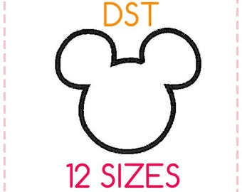 12 SIZES Mickey Mouse Applique Embroidery Design DST Format,Embroidery Designs ,Machine Embroidery,Mickey Mouse Head,Instant Download
