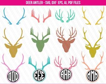 Deer Antler Svg, Antler SVG, Antler clipart, Antler monogram frame svg, Deer Horn svg - Svg, Dxf, Ai, Eps, Pdf - Instant digital download
