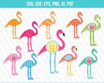 Flamingo SVG,Flamingo monogram,Flamingo Clipart, Cricut silhouette,Screen printing- Instant digital download-Svg,Dxf,EPS,AI,png,Pdf