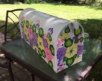 painted floral mailbox decorative mailboxes custom mailboxes with flowers pink flowers yellow - Decorative Mailboxes