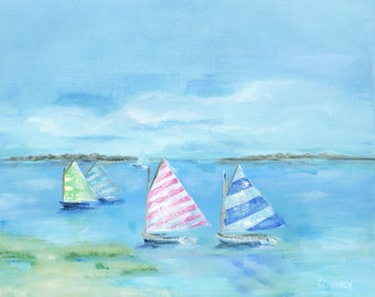 Sail to the Jetty: Fine art giclee sailboat print from original sailboat painting