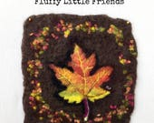 Fall wool painting, needle felted Autumn Leaf wool painting, wall hanging, gift, birthday, cards,