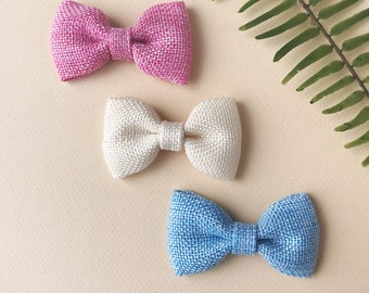 Girl's Cream, Pink and Blue Burlap Bow Clip Set  | Baby | Toddler | Small Bow Clips