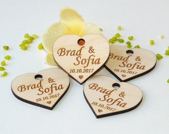 Wedding favor tags, Wood favor tags, Wedding favors, Wood wedding favor tags, Wedding rustic tags, Custom tags, Heart tags, Wedding name tag