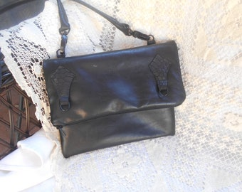 Genuine Black Leather Convertible Foldover purse fully lined Top and front zip closure with credit card holder inside Hand made in USA