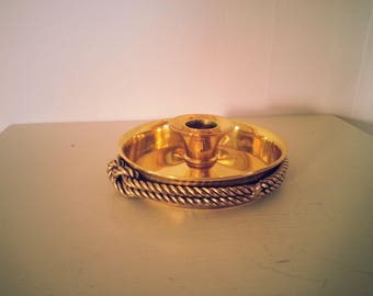 Nautical Vintage Gold Finish Candle Holder - for taper candle