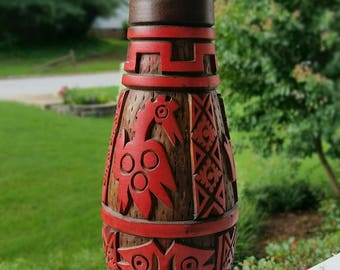 Vintage Wooden Carved Island Vase - Perfect Condition!