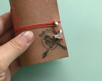 Kestrel mini Leather Handmade Watercolor Journal- 3.5 x 2 inches - 40 pages FABRIANO COLD pressed watercolor paper