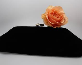 Vintage Black velvet Clutch includes interior pocket, kiss closure, vintage evening bag, Holiday purse