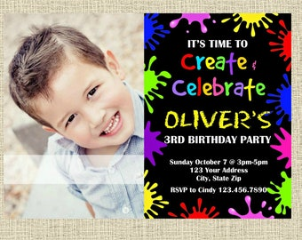 Glow Paint Chalkboard Invitation - Painting Craft Arts Party Invitation - Birthday Party Invite - Digital - Customized