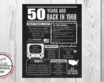 50 years ago Back in 1968 Chalkboard Style Poster, 50th Birthday Poster Sign, Printable, Instant Download, 1968 Facts, Anniversary Gift