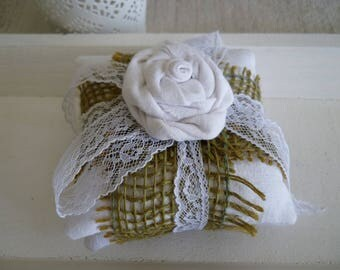 White shabby pillow decorative to put Lavender-scented