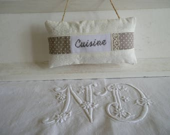 Kitchen door cushion fabric and - sign holder for kitchen - decorative cushion for charming kitchen cross stitch Embroidery