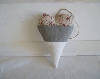Heart linen and liberty fabric tricolor door cushion