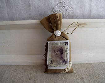 Decorative sachet scented with lavender with vintage image