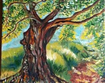 Original Oil Painting, Tree, 1202134, 20x16inch