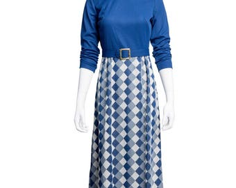 1970's Navy and White Belted Maxi Dress