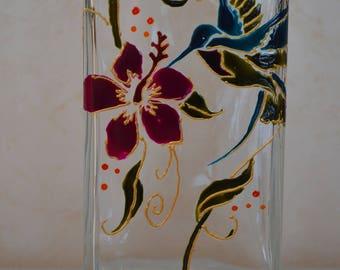 Vase glass, Hummingbird painting, hand painted Hummingbird, painting Hummingbird