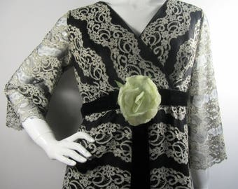 Vintage 1950's BLANES Lace MAXI Dress, Uk 14, Theatre, Evening, Party, Black