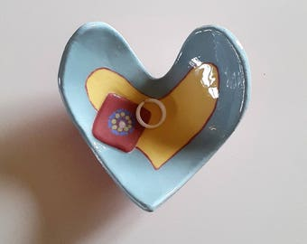 Coeur rest-ring ceramic heart gift for MOM, mother's day, daughter, blue heart ceramic tidy