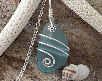 Handmade in Hawaii, Wire wrapped Turquoise Bay blue sea glass necklace, Sterling silver chain, Hawaiian  jewelry.Sea glass jewelry.