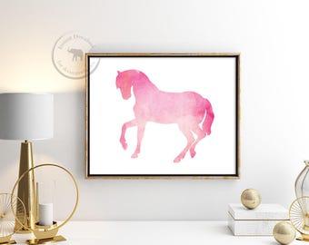 Horse Print - Pink Horse - Horse Decor - Horse Wall Art - Instant Download - Nursery Decor - Printable Art - Horse Art - Girl Nursery Decor