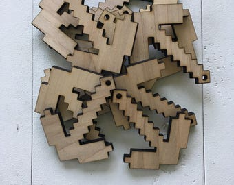 Minecraft picax, Minis with hole for keychain or ornament, laser cut, laser engraved