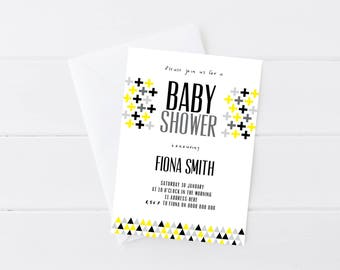 Modern Geometric Baby Shower Invitation | Printable Gender Neutral Baby Shower Invitation