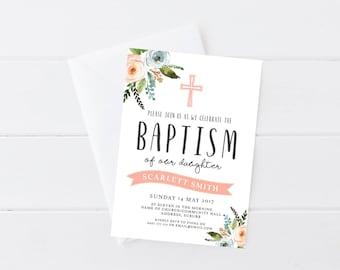 Floral Baptism Invitation   Baptism Invitation   Christening Invitation   Watercolour Floral Baptism Invitation