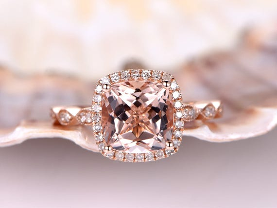 Morganite Engagement Ring,8mm Cushion Cut Morganite Ring,Milgrain Ring,Art Deco Diamond Band,Natural Gemstone Ring,Bridal Ring,14K Rose Gold