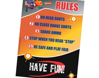 Nerf Gun Rules, Gun War Rules, Digital Nerf Gun Party Rules, Dart Wart Gun Rules, Nerf Gun Party Rules, Dart War Rules, Gun Party Rules