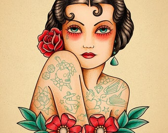 Tattooed Woman. Old School Tattoo print.
