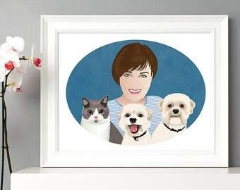 Custom portrait with pet, pets portrait, personalized portrait, portrait illustration,
