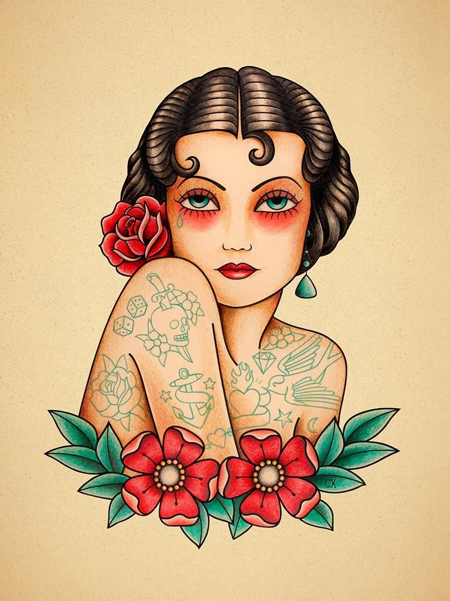 tattooed woman old school tattoo print