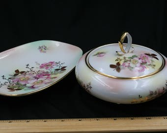 Schumann Wild Rose Pattern Covered Candy Bowl and Relish Dish