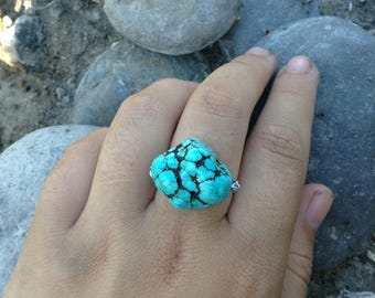 OOAK Turquoise Silver Ring Size 8