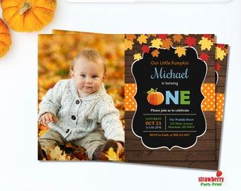Our Little Pumpkin First Birthday Invitation. Fall Birthday Invitation Boy.  Pumpkin Birthday Invitation. Printable Digital File. A9