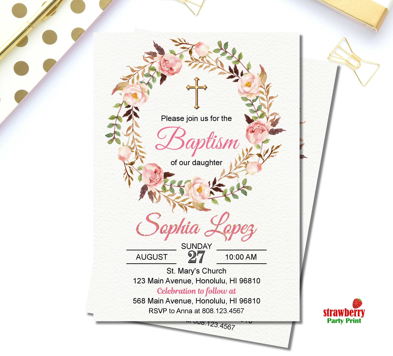 Baptism Invitation Girl. Floral Baptism Invitation. Christening Baby ...