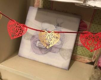 Anniversary Heart Shape Bunting Ruby Wedding Paper Heart