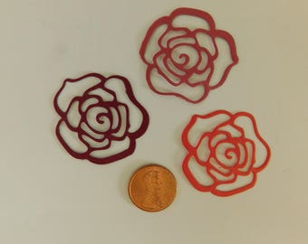 Paper Die Cut Red Roses 1 1/2 inch red roses scrapbooking Paper Crafting embellishment Wedding Die Cut Roses Teacher Supplies