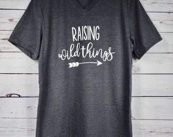 Raising Wild Things Dark Gray Shirt, Mom Shirt, Gift for Her, Raising My Tribe Shirt, Raising My Tribe, Arrow Shirt, Gift for Mom