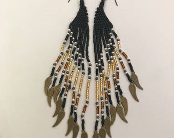 Alkaia Matte Black Long Beaded Winged Goddess Feather Earrings