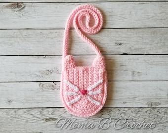 Crochet Kitty Bag, Bitty Kitty Bag, Toddler Purse, Toddler Kitty Bag, Toddler Kitty Purse, Toddler Messenger Bag
