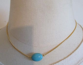 Blue Pearl and gold plated fashion necklace